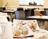 breakfast restaurant floor details on croissant